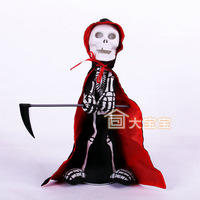 Halloween party decoration supplies props child sickle electric skull set tricky toy