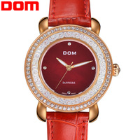 2014 Brand new Dom G86 fashion trend quartz watches women business casual wristwatch women Rhinestone genuine leather watch