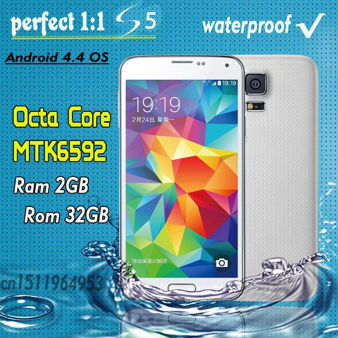 "Echte 1:1 i9600 Octa Kern ram 2gb rom 32gb wasserdichte mtk6592 s5 telefon 16MP Original-Logo android phone 3g 5.1"" 1920*1080"