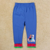 Blue Red Frozen Elsa&Anna Pattern Autumn Ruffles Girls Leggings Clothing Girl's Kid Casual Full Pants Legging Trousers G5361Y
