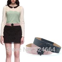 Free Shipping !2014 New Fashion Diamond Flower Wide Design Korean belts for women
