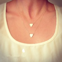 European and American Fashion Jewelry Simple Design Multi-layer Suit Triangle Necklace for Women