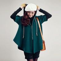 autumn 2014 woolen short-sleeve loose coat   freeshipping