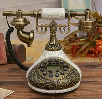Free shippingFree shipping European resin upscale furnishings antique vintage white telephone old telephone landline telephones