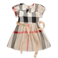 2015 new Brand plaid dress girls short-sleeve summer children's clothing princess tennis dress 2-6T fashion baby girl clothes