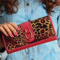 2015 fashion leopard genuine leather women wallets long designer female purse clutch bags carteira feminina