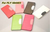Free Shipping 2014 Contrast Color leather PU case for  FLY IQ4403 Energie 2 with Card & Stand holder and wallet case/ 8 color
