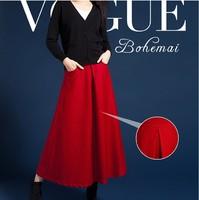2014 New arrival autumn and winter long skirt thick wool skirt high waist plus size long floor skirt a-line half-length skirt