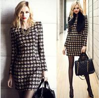 2014 Autumn Winter Warm Cotton Fashion Dress Women European Style Slim Long-sleeved Houndstooth Print Plaid dresses Discounts
