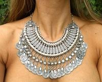 2014 Hot Sale Brand Fashion Jewelry Women Necklace Statement Retro Coin Tassel Vintage Necklace FN0338