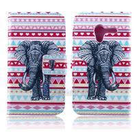 PU Leather Porcelain Style Elephants National Flower Wallet Flip Cover Case for Motorola Moto X Phone XT1055 XT1058 XT1060