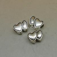 20pcs Antique Silver  Double Heart Shape Big Hole Beads 14x10mm For Charm Bracelet DIY A8208