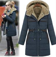 Parkas 2015 New Winter Coat Women Plus Velvet Cotton-padded Jacket Liner Outerwear Fashion Medium-long Thickening Winter Jacket