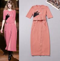Europe Fashion Brand Design Runway Dress 2014 Autumn Elegant Half Sleeve Embroidery Ankle Length Pencil Dress With Free Belt