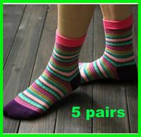 5pairs National trend socks female 100% cotton knee-high women socks 2014 brand fashion socks