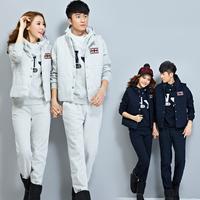 New Fashion Men and Women Lovers Hoodied Sweatshirt 3 Piece Set Thick Plus size sportswear lovers sports set