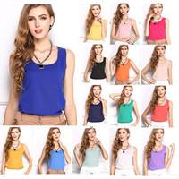 New Fashion Tops & Tee 16Colors Summer Women Clothing Chiffon Loose Vest Cas Ssual Tank Top Shirt Pluize S-3XL Blusas Femininas