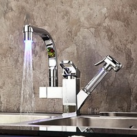 Kitchen Faucets Torneira Cozinha High Quality LED Light Pull Out 92347-1/16 Deck Mounted Chrome Brass Sink Faucets,Mixers & Taps