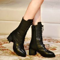 2014 autumn and winter Full genuine soft surface leather fashion martin  thick heel medium-leg boots riding black boots female