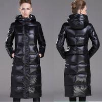 D1210 Luxury Wintering Female Thick Long Parkas Jacket Slim Women White Duck Down Overcoat Plus Big Large Size Hooded Zipper