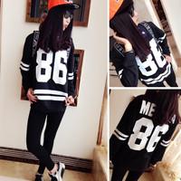 2014Medusa player American baseball t shirts 86th striped baseball Tee long sleeve sweater women sweatshirts
