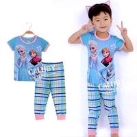 Wholesale 6 sets/lot for 2-7 years old  100% cotton kids pajamas short sleeve  sleepwear girls frozen pajamas X-553-10-22