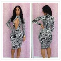 Women's Fashion 2014 Striped Print color Bandage Dresses Bodycon Evening Club Sexy Dress -E54