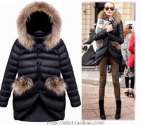 J&New women's fashion irregular down jacket Super mink collar Mrs Black DE choice