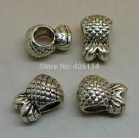 15 Pcs Antique Silver Pineapple Beads Big Hole 12.8x8.9x8.7mm For European Bracelets DIY A0807