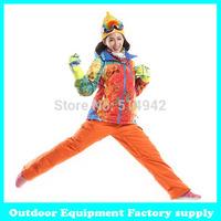 Dropshipping hot  winter warm fashion waterproof windproof breatheable outdoor ski snowboard jacket and pants set ski suit women