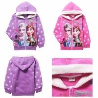 2014 New Autumn Winter Frozen Hoodie Fashion Hooded Wool Girls Coat Jacket Kids Outerwear Girls Hoodies 5 pcs / lot 804
