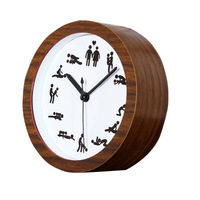 Creative Retro Style Personality Round Wooden table sat mute bell clocks Alarm  Desk Clock Women and Men Make Love