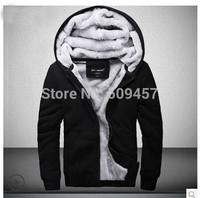 fuzzy hoodies for men, plus thicken sweatshirt hooded winter coat top brand quality ,Fleeces warm cardigan ,P077