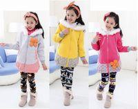 baby girls winter fur Hooded cartoon Solid outwear clothing sweet children kids fashion cotton jackets coat flower decoration