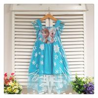 Retail, 2014 New Frozen clothes Elsa & Anna Party Dress For Girl Princess Dresses Vestidos Upscale elegant evening dress