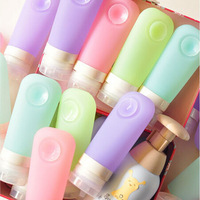 New ! 60ml candly color Travel Refillable Sub-bottling Set Shampoo Shower Lotion Silicone Bottle Free  Shipping