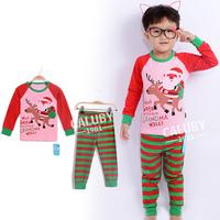 Wholesale 100% cotton 2-7 years old kids pajamas long sleeve Fall Winter pajamas sleepwear girls Christmas pajamas X-562-10-22