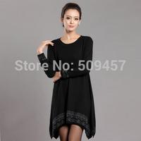 2014 New fashion Korean Women's long sweaters cashmere sweater dress irregular loose large size women winter sweater