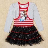 Wholesale 2104 New Spring-Autumn Girl Dresses Frozen Princess Elsa Dress, Princess Dresses for Children H5596