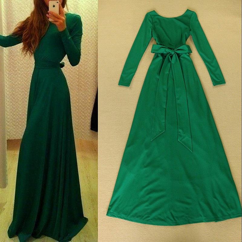 Купить Платье Длинное Зеленое Платье