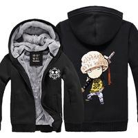 Anime One Piece clothing super thicken Trafalgar Law cosplay costume velvet hooded zipper sweater plus size M-XXXL