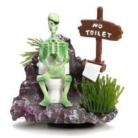 Skeleton On Toilet Action-Air Aquarium Ornament