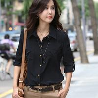 Korean version of the elegant ladies wind pocket folding adjustment sleeve blouse  freeshipping