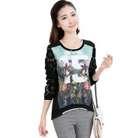Stylish and elegant long-sleeved openwork stitching loose long-sleeved T shirt   Women's T-Shirt   freeshipping
