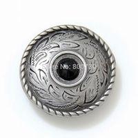 10pc 1'' (2.5cm) Metal Concho Prairie Dust Concho Antique-Silver w/ Black-Stone Craft Hardware Accessory