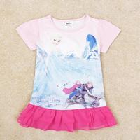 NOVA Kids Wear Children Clothing Printed Beautiful Girl 2014 New Lolita Style Summer Short Sleeve Dress For Baby Girls