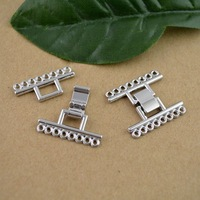 DIY - 26*23MM 8Strand/Hole Rhodium Plated Clasp Fold Over Single Side Jewelry Finding Fit bracelet  50Set/lot