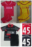 14/15 Liverpool kids home red away yellow soccer football jerseys + shorts kits, Liverpool children soccer shirt ,Youth uniform