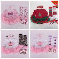 4pcs Newborn Infant Baby Girls Boys Headband+Romper+Leg Warmers+Shoes Cupcake Sets Christmas Santa Costume Outfits Clothes