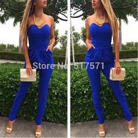 Rompers Womens Jumpsuit Sexy Blue Pockets Slim Pants Bodysuit Sleeveless  Jumpsuits XXL macacao feminino e macaquinhos